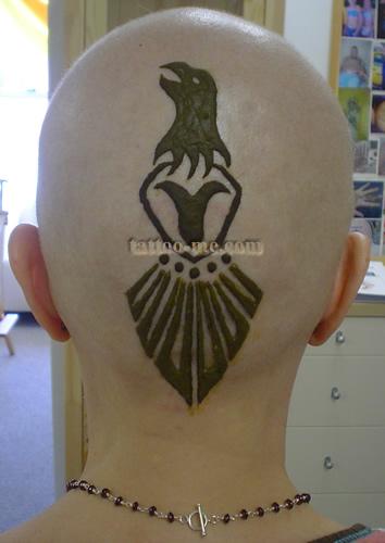 phoenix design head henna tattoo 2