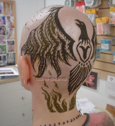 phoenix design head henna tattoo 11