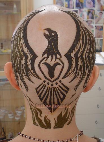 phoenix design head henna tattoo 16