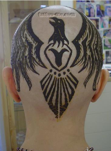 phoenix design head henna tattoo 5