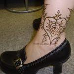heart ankle henna tattoo