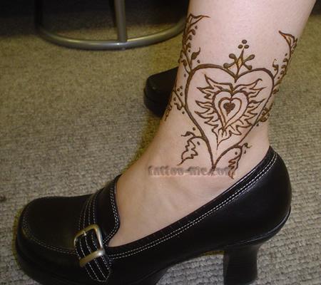 Heart ankle henna tattoo tattoo me for Heart henna tattoo