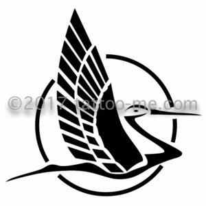 flying stork - cigogne en vol tattoo-me stamp